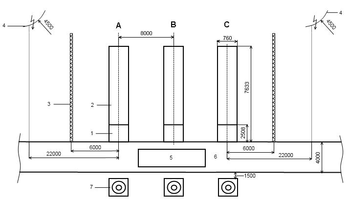 хема расположения автоподъёмника для проведения текущего ремонта элегазового выключателя HPL 550B2