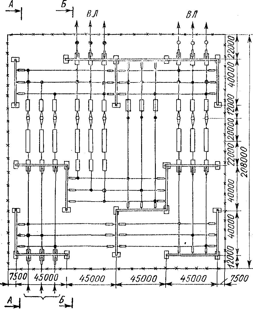 ОРУ 750 кВ для схемы многоугольника с двухрядным расположением выключателей.
