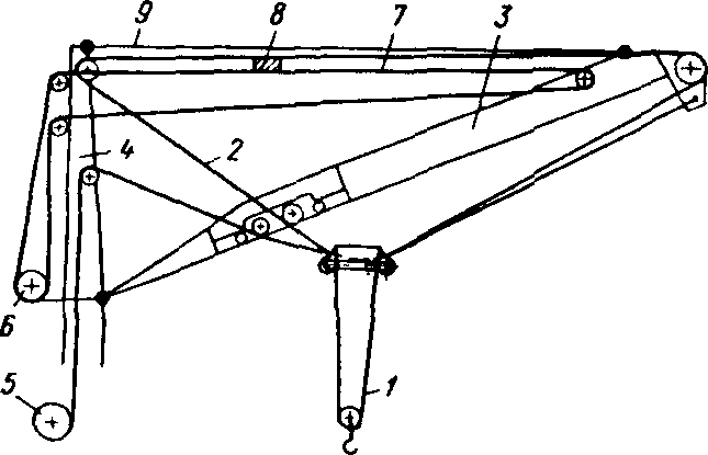 Схема подвески стрелы и