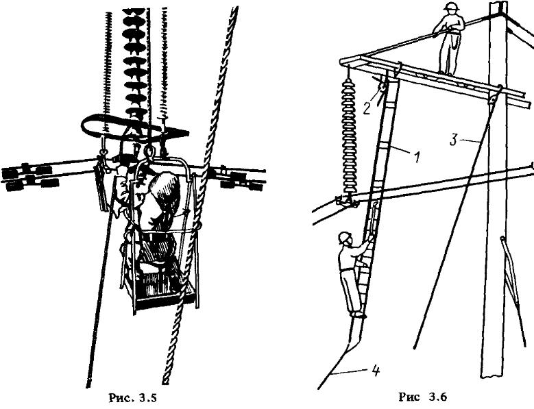 Схема подъема электромонтера к