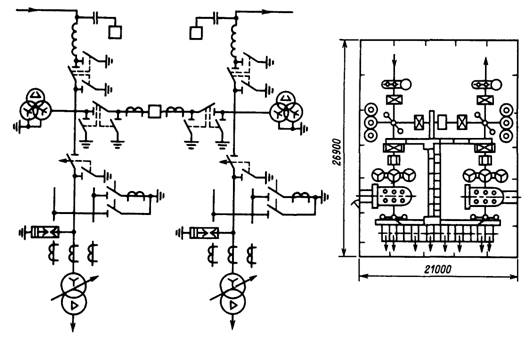 Схема проходной трансформаторной подстанции напряжением 35/10 кВ с двухсторонним питанием, мостик с выключателем в...