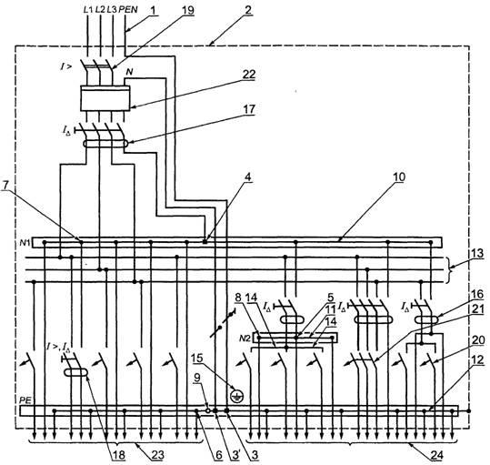 Рисунок А.5 - Схемы квартирных щитков (группового и учетно-группового) индивидуальных многоэтажных зданий...