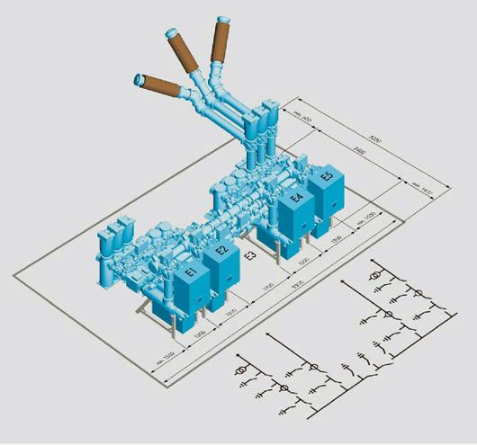 КРУЭ С одной системой шин и двумя секционными шинными разъединителями.