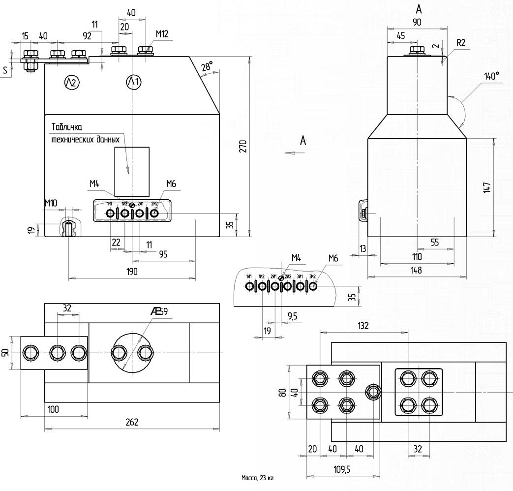 Трансформатор тока ТВЛМ-10 габариты